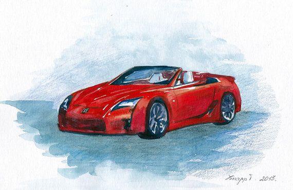 Lexus LFA, Red Car, Original Painting, Watercolor, Handpainted, Car, Lexus