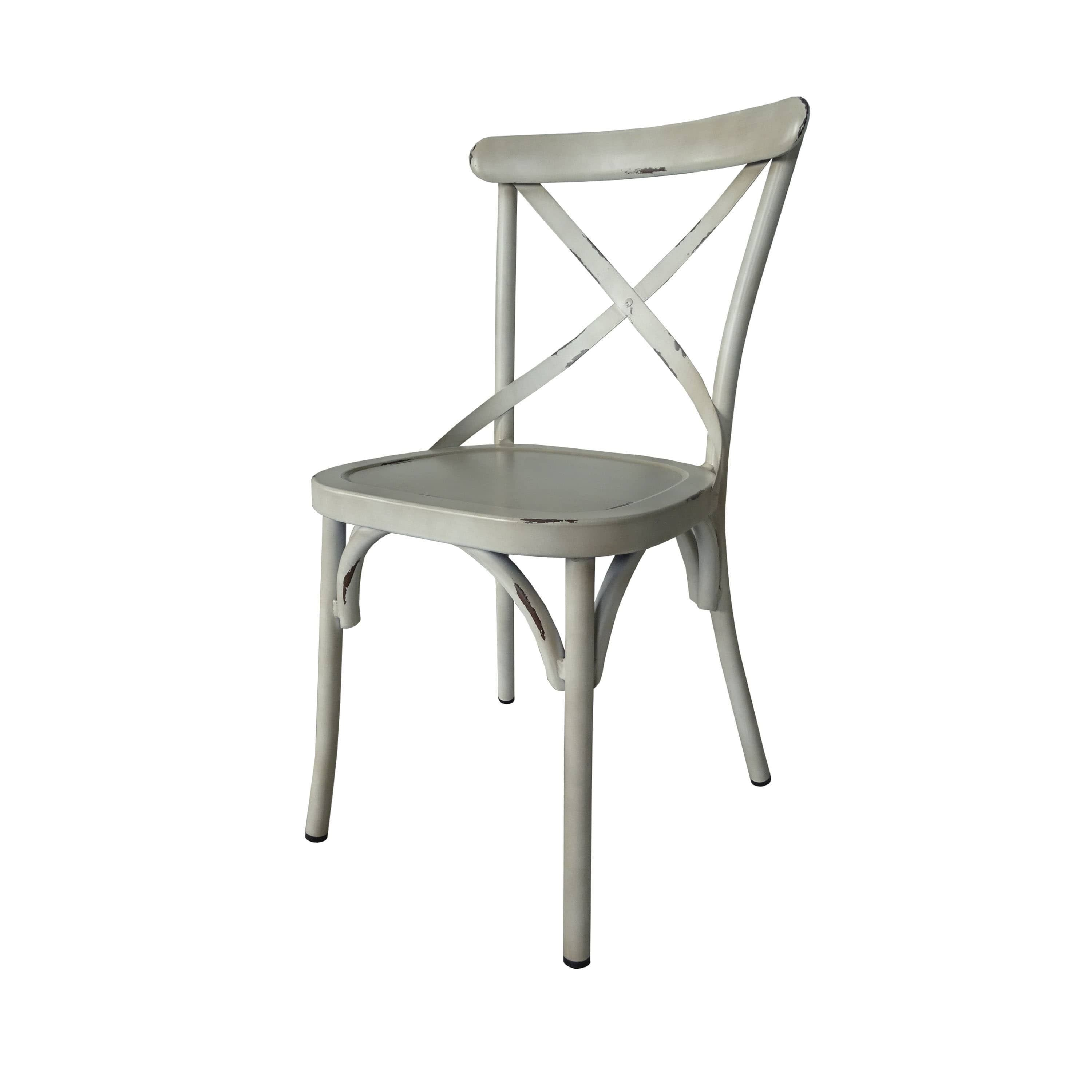 Villa Vintage White Aluminum Indoor Outdoor Rustic Dining Chair