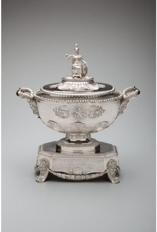 """This tureen was presented by the citizens of Philadelphia to Captain Jacob Jones, U.S.N., for his victory of the """"Wasp"""" over the British brig """"Frolic"""" during the War of 1812."""