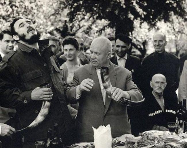 Nikita Khrushchev and Fidel Castro in Georgia, 1963.
