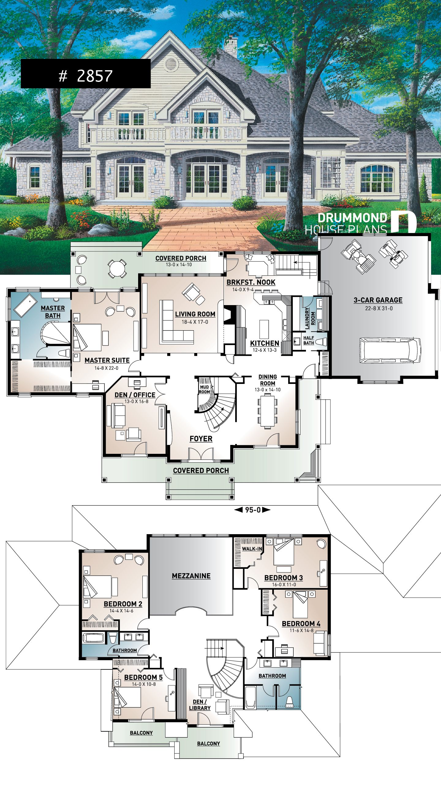 5 bed 3 5 bath 3 car garage house plan formal dining & living room large master main floor wi