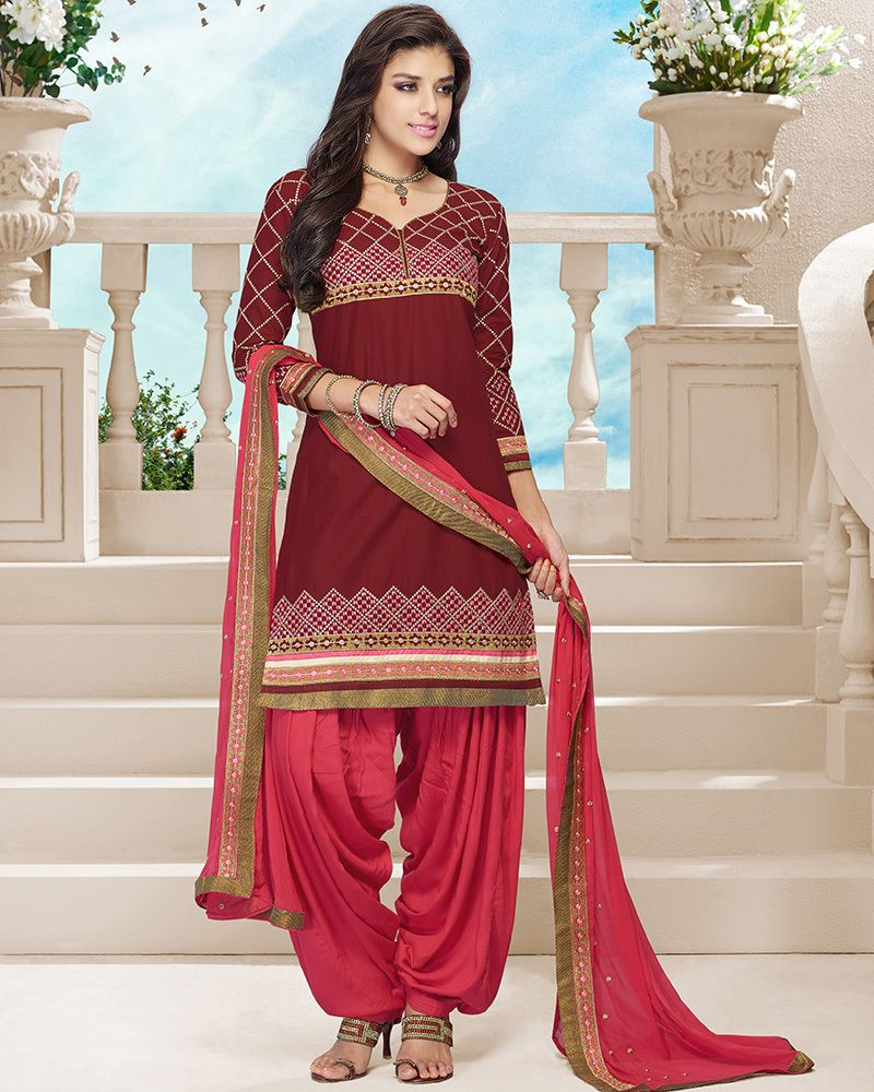 3886e2c1ca Maroon and pink color combination casual cotton patiala suit with  embroidery work