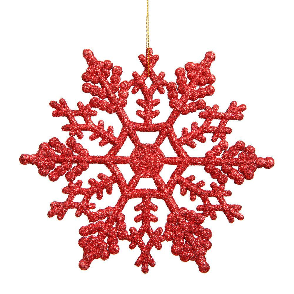 "Vickerman 4"" Red Glitter Snowflake Christmas Ornament, 24 per Box"