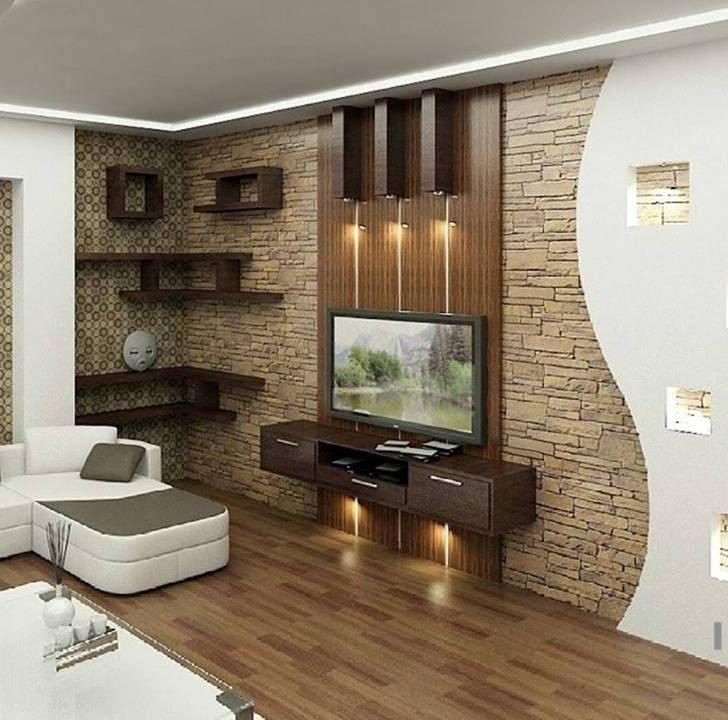 Lighting above TV | Living room tv unit, Modern tv wall ...
