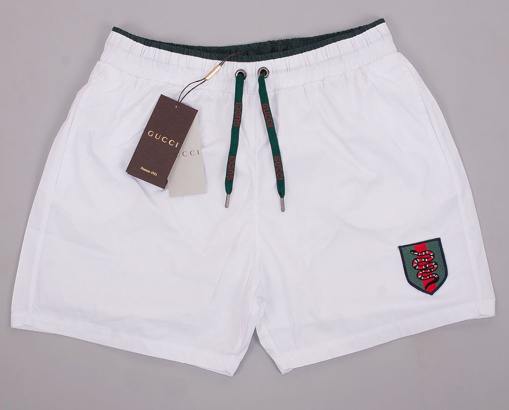 b9eef18e94 Gucci Swim Shorts, Mens White Swim Trunks With Snake Web Crest | Clothing,  Shoes & Accessories, Men's Clothing, Swimwear | eBay!