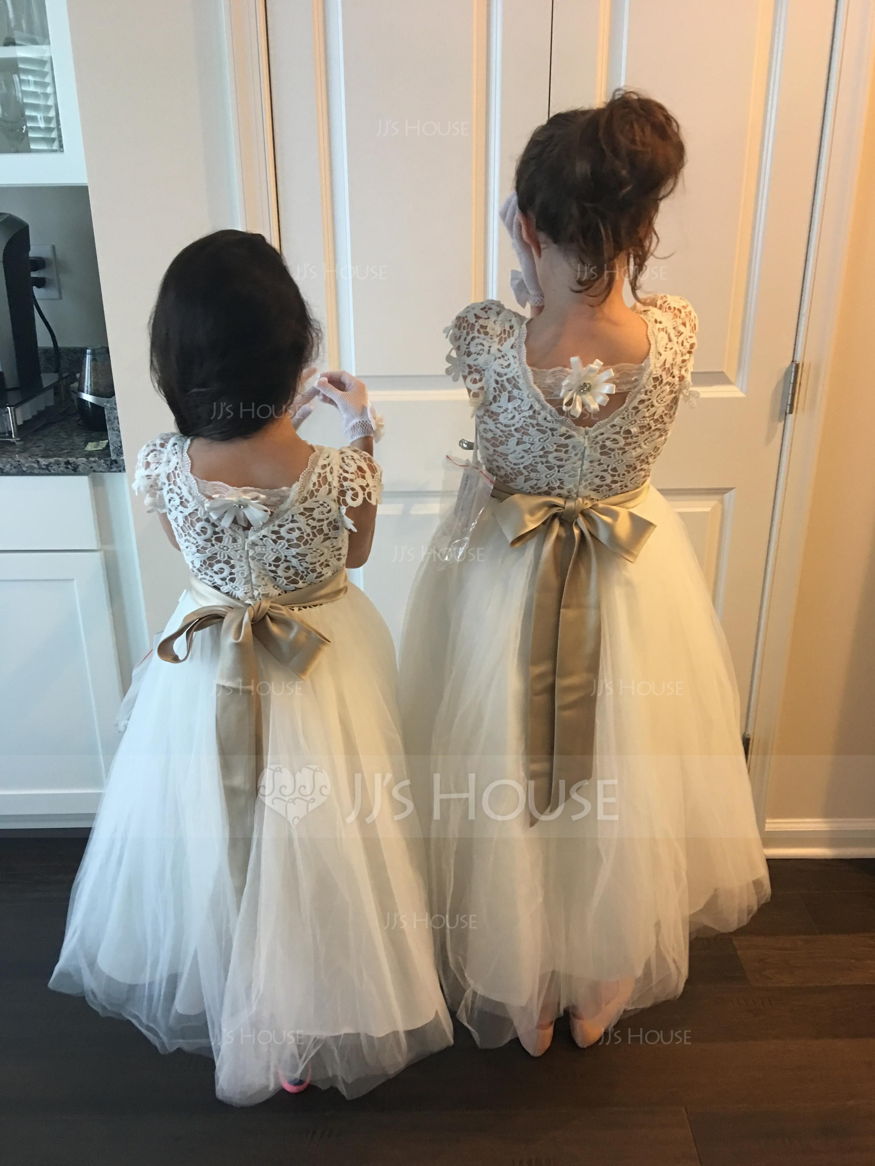 a67cd59bea1 A-Line Princess Knee-length Flower Girl Dress - Tulle Lace Sleeveless Scoop  Neck With Sash Flower(s) Back Hole (010104926) - JJsHouse