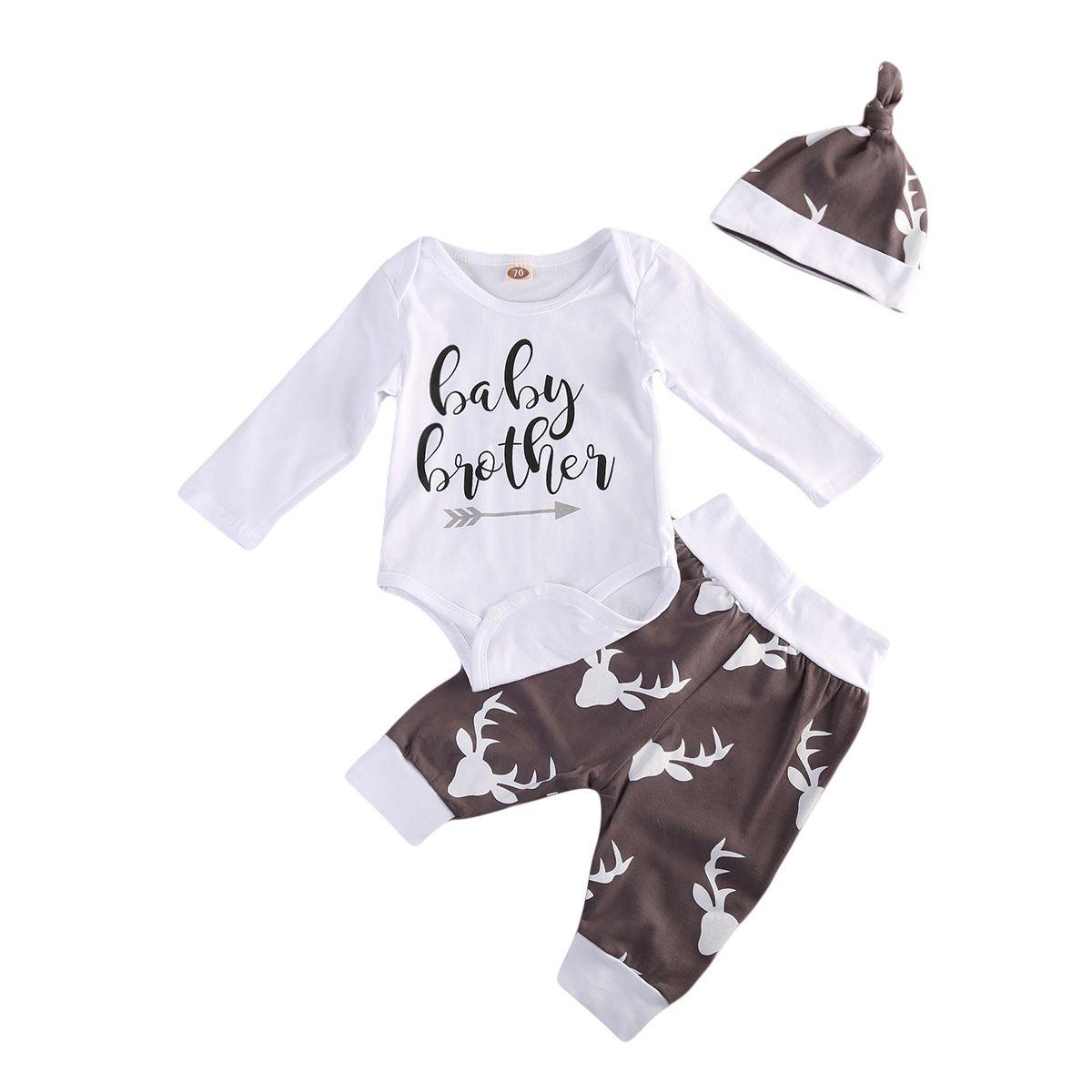 bc169929e 3Pcs Set Newborn Infant Toddler Baby Boys Christmas Xmas Clothes ...