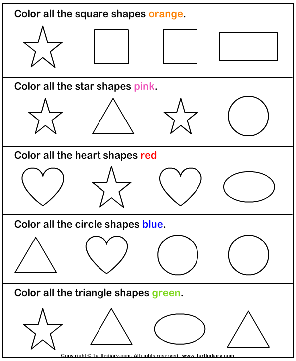 download and print turtle diarys learning colors and shapes worksheet our large collection of math - Colour Worksheets For Preschoolers