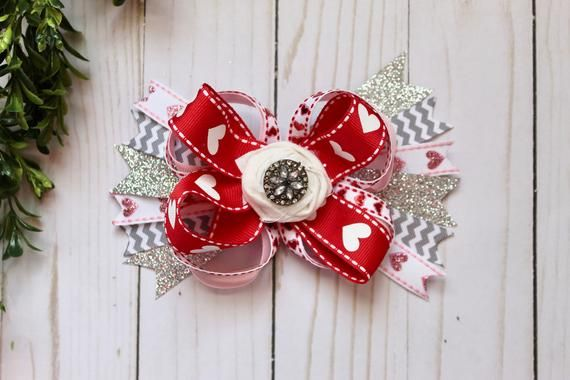 Hearts and chevron Valentine's Day chunky ribbon bow clip