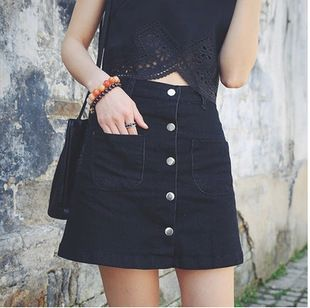 Black Denim Button Front Skirt - Dress Ala