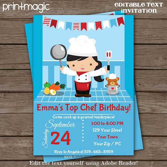 Top chef cooking party invitation editable text by printmagic fte top chef cooking party invitation editable text by printmagic stopboris Gallery
