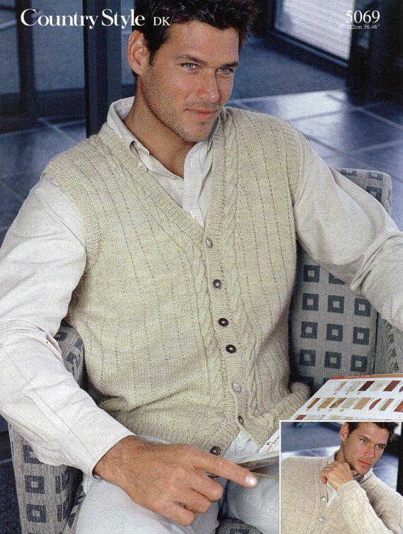 Mens Knitting Pattern Mens v Neck Cardigan Mens Waistcoat Mens ...