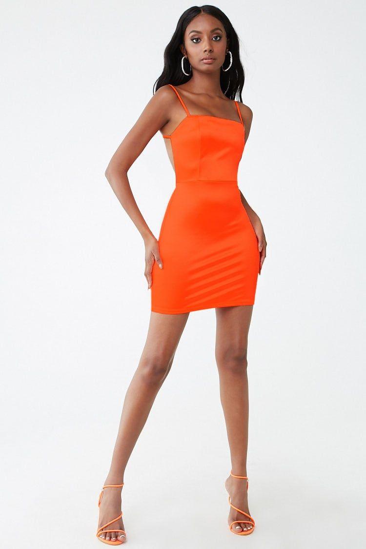 Strappy Bodycon Mini Dress Forever 21 Orange Bodycon Dress Short Orange Dress Mini Dress [ 1125 x 750 Pixel ]