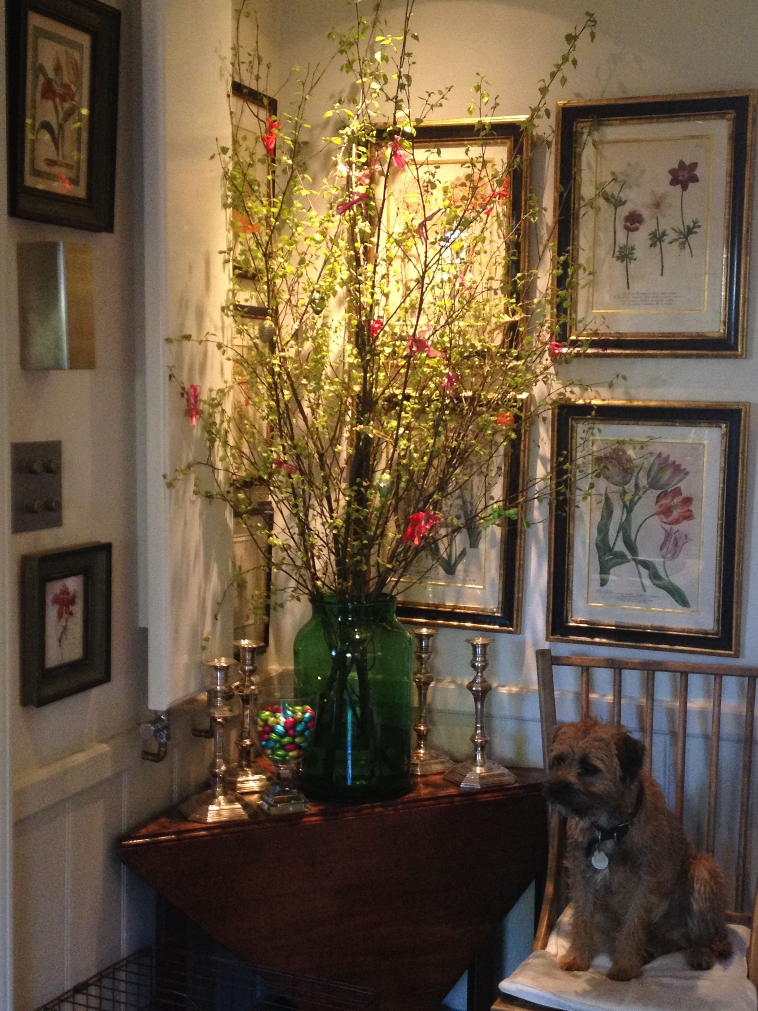 Easter Tree Brightly Coloured Ribbons Choccies In A Oversized Glass And Wafer Our Border Terrier Happ Flower Room Home Exterior Makeover Inspiration Wall