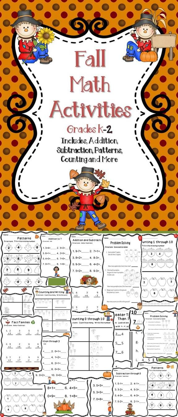Fall Math Activities K-2 | Primary maths, Math class and Classroom ...