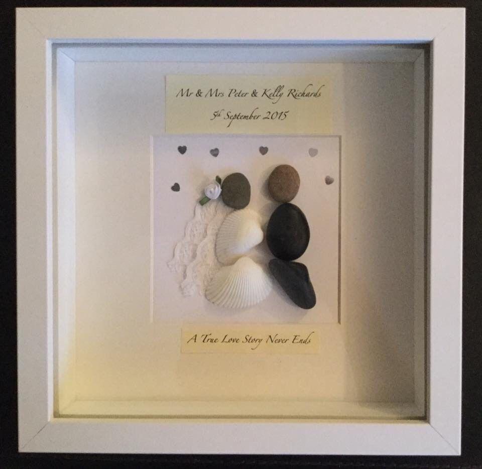 Handmade Personalised Framed Pebble Art Picture Wedding