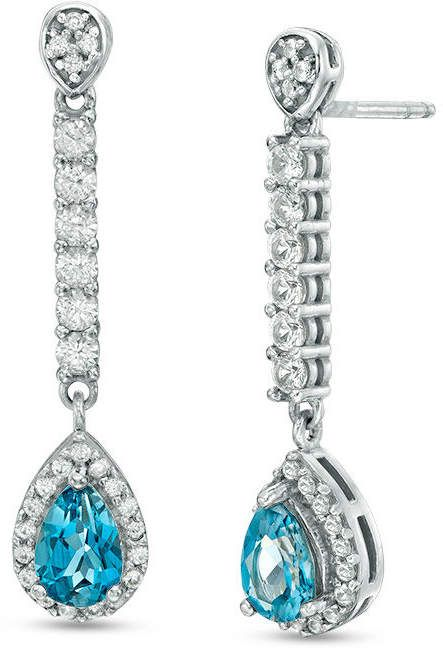 Zales Pear-Shaped Lab-Created Aquamarine and White Sapphire Frame Drop Earrings in Sterling Silver Lzie3i0GIm