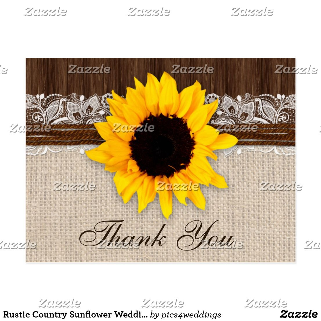 Rustic Country Sunflower Wedding Thank
