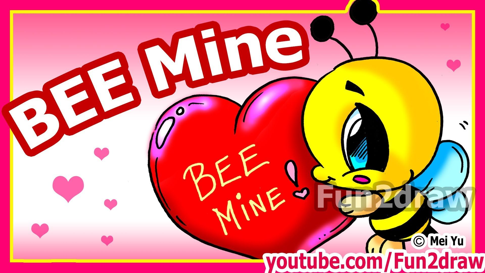 How To Draw Valentines Cute Cartoon Bee Heart Fun2draw Channel