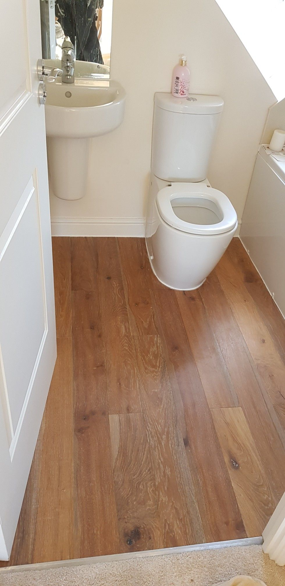 Engineered Oak Flooring Bathroom With