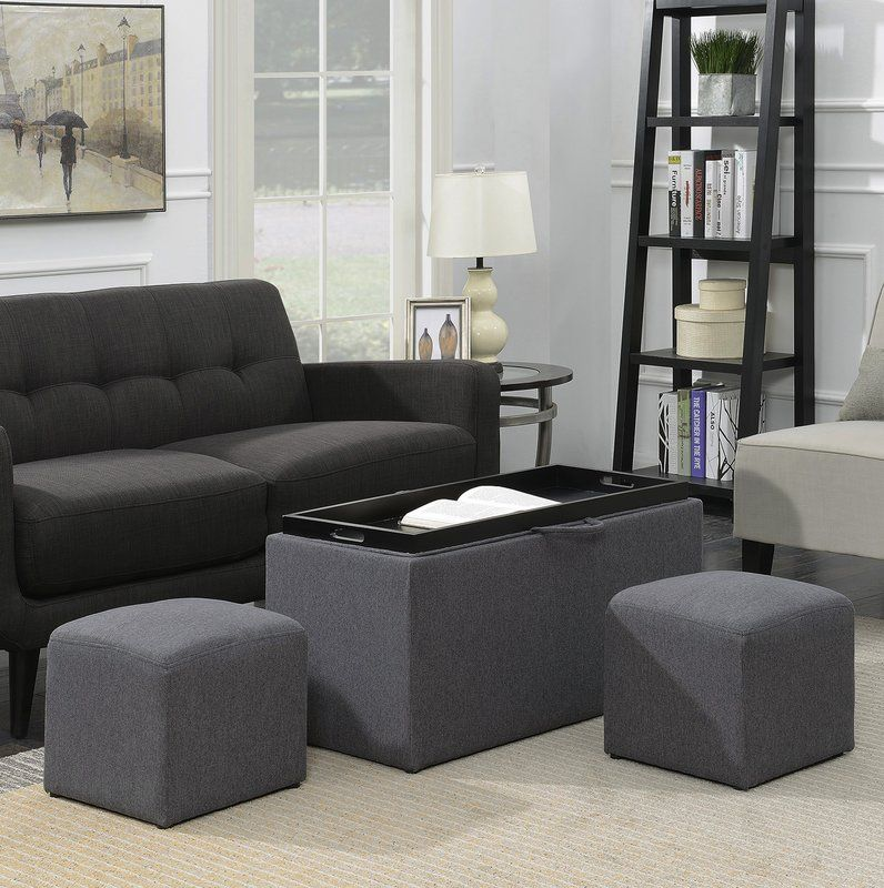 Marla 3 Piece Ottoman Set Leather Storage Bench Ottoman Set Convenience Concepts