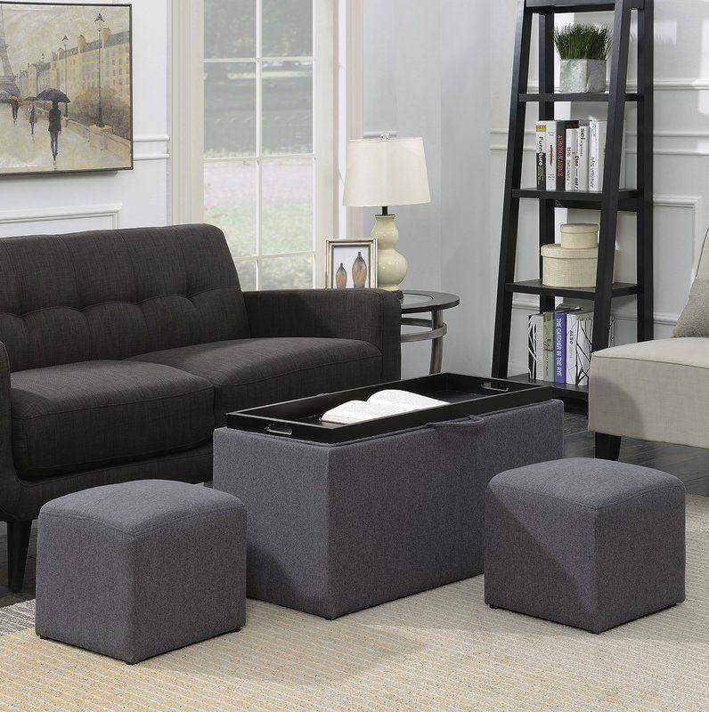 Marla 3 Piece Ottoman Set Leather Storage Bench Ottoman Set Convenience Concepts