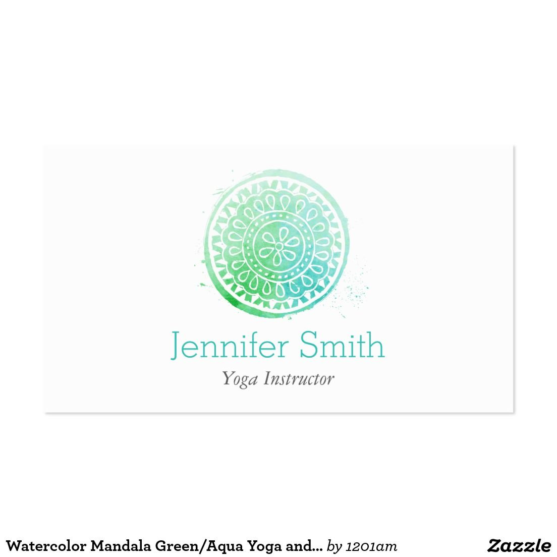 Watercolor Mandala Green/Aqua Yoga and Wellness Pack Of Standard ...