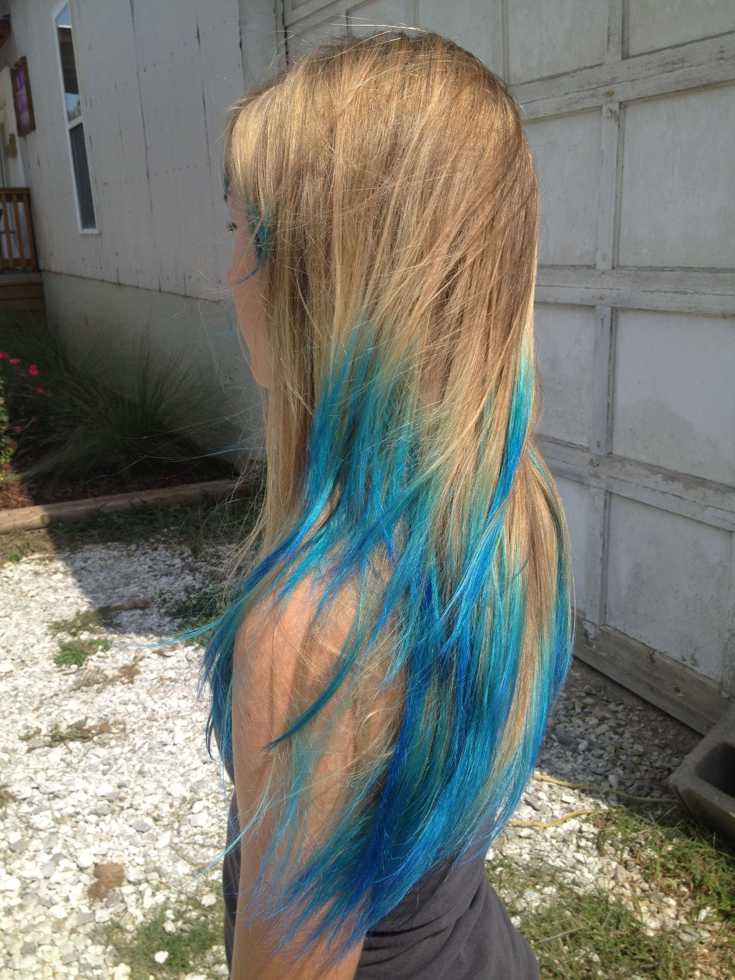 Roxiejanehunt Color Faded Dip Dye Get The Look Blue Tips Hair Dipped Hair Blonde Hair With Blue Tips