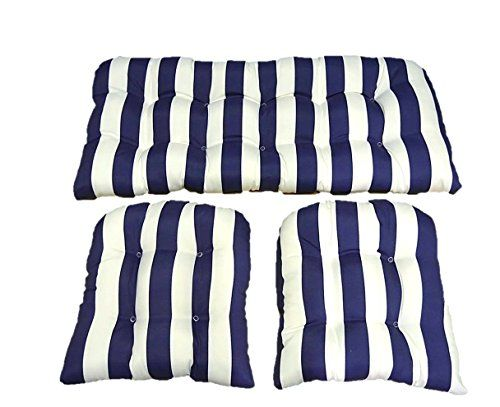 3 Piece Wicker Cushion Set Navy Blue And White Stripe Indoor Outdoor Fabric Cushion For Wicker Lovese Outdoor Fabrics Cushions Wicker Loveseat Outdoor Fabric