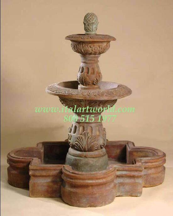 LARGE Spanish Pool Fountains CAST STONE TWO TIERED WATER FOUNTAINS .