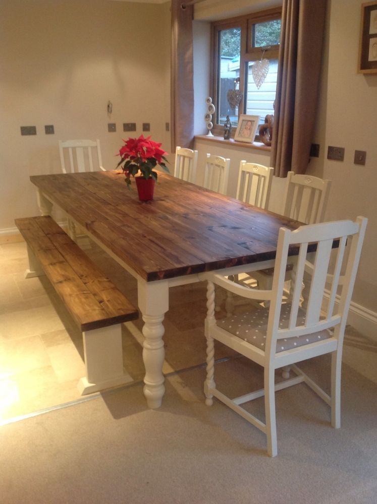 Rustic Farmhouse Shabby Chic Solid 10 Seater Dining Table Bench And 6 Chairs Farmhouse Dining