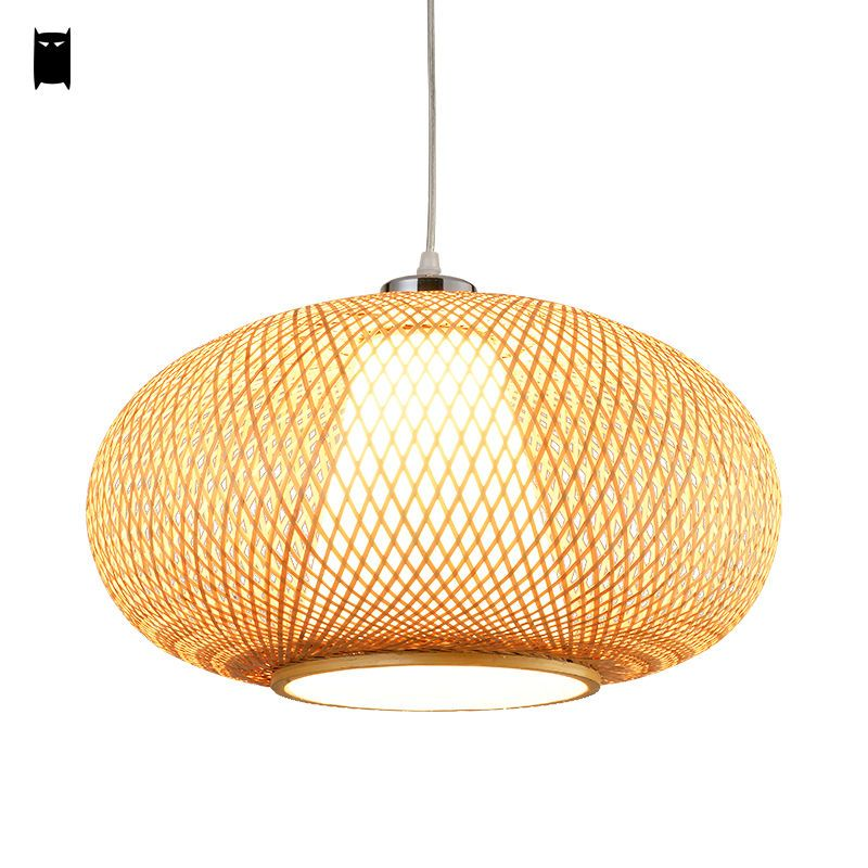 Bamboo Wicker Rattan Lantern Pendant Light Fixture Asian Hanging Ceiling Lamp Soleilchat
