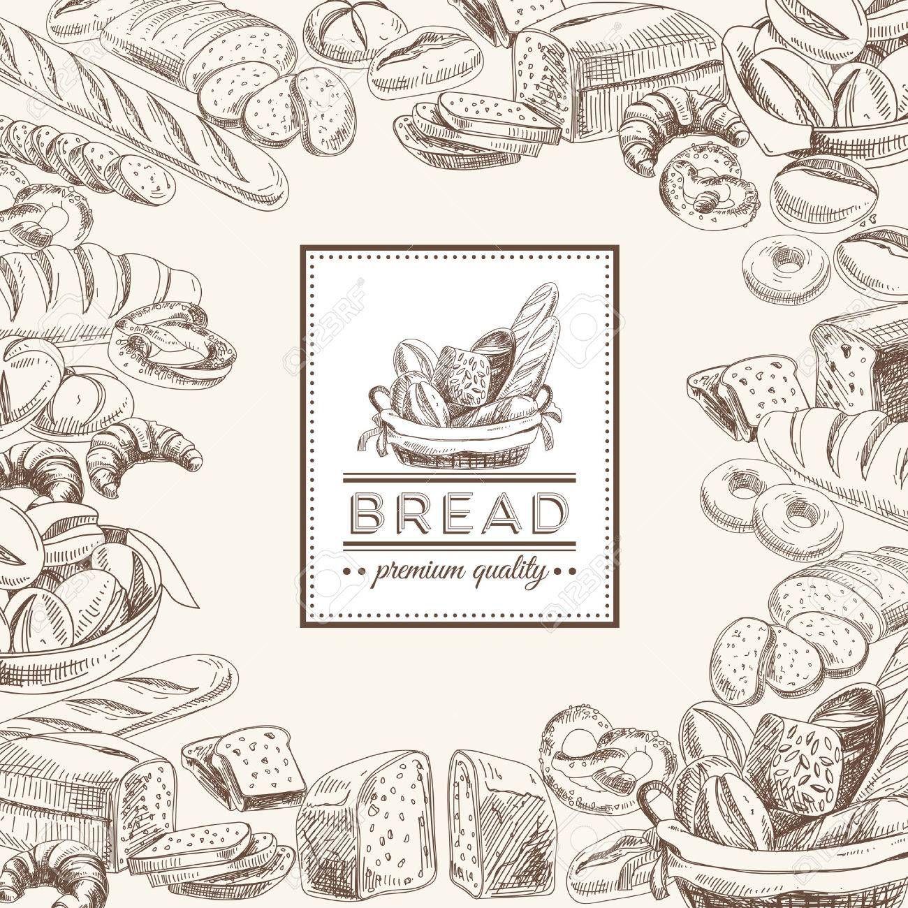 Vector panadería fondo retro. Ilustración de la vendimia con pan ...