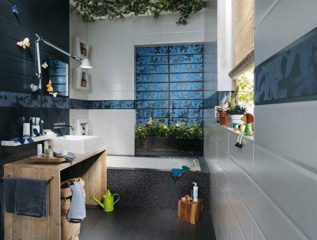 Badezimmer Design Ideen Blau Grau Holz Waschtisch