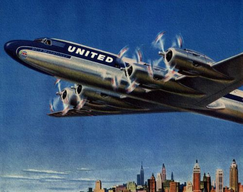 Leave New York at noon - reach Los Angeles before 5pm! United Airlines - 1954