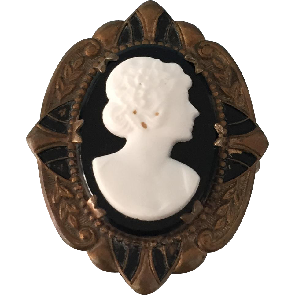 White Coral and Black Onyx Antique Victorian Hand Carved Cameo Brooch