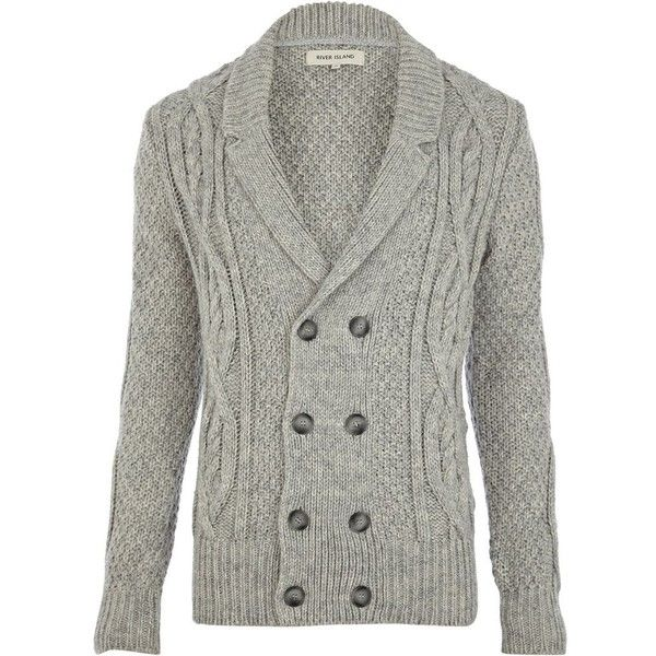 River Island Grey cable knit double breasted cardigan ($40 ...