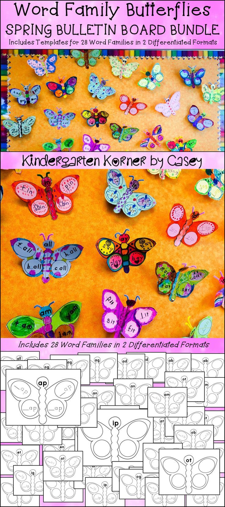 Butterfly Word Families Spring Bulletin Board Writing Centers ...