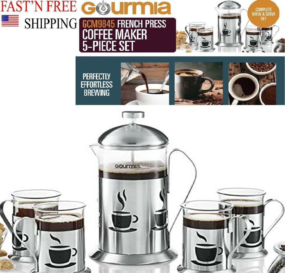 Gourmia Decorative French Press Coffee Brewer 800ml W