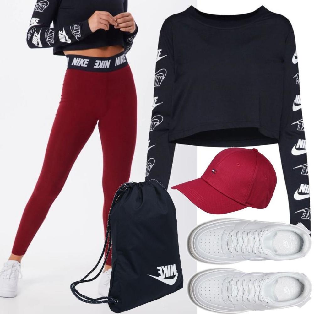 Nike Sportswear Leggings dunkelrot Outfit für Damen zum