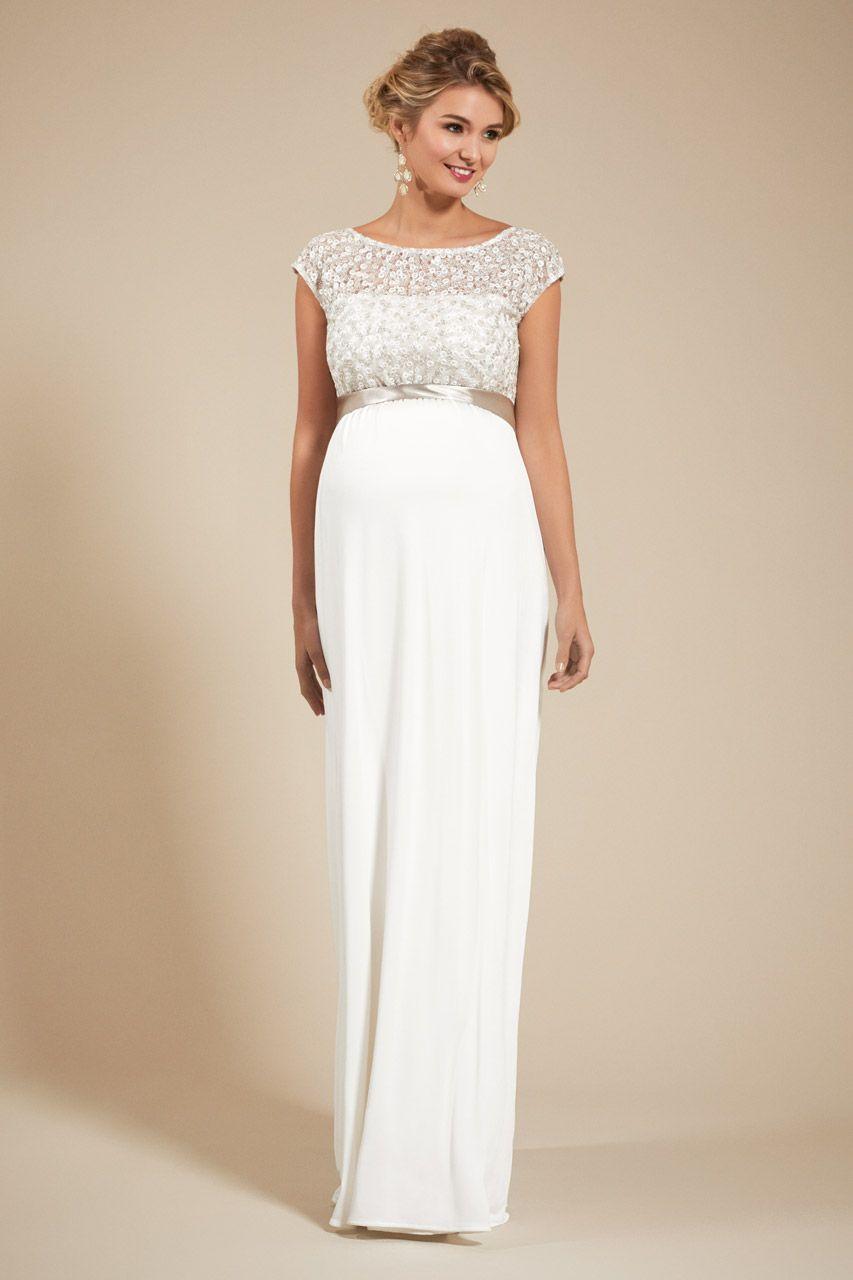Umstandsbrautkleid mit Paillettenoberteil lang  Hochzeitskleid