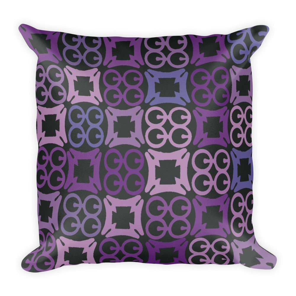 Purple Black And Blue Square Pillow In African Adinkra Symbol Print