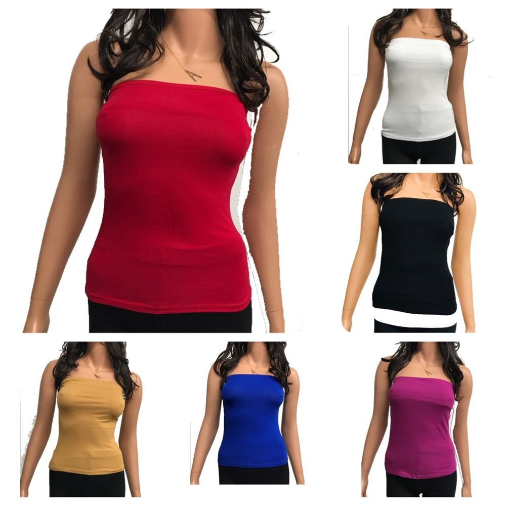 118dcedc0a Women s Plain Stretch Seamless Strapless Layer Tube Top(S-L)  bozz  TUBETOP   Casual