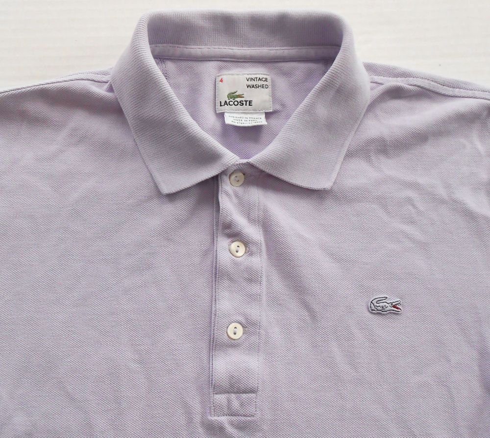 f3cc0244f70 LACOSTE Men s Vintage Washed Light Purple Polo Shirt size 4 SMALL Lilac  Lavender  Lacoste  PoloRugby