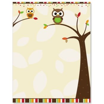 Autumn Owl Border Papers Owl, Writing paper and Clip art - free paper templates with borders