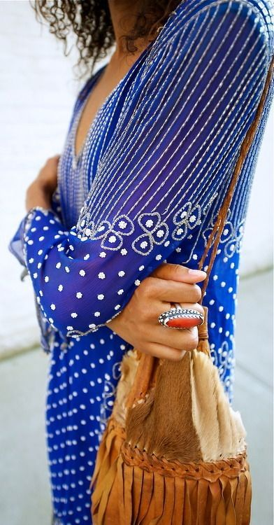 Embroidered Blue Sleeve Dress