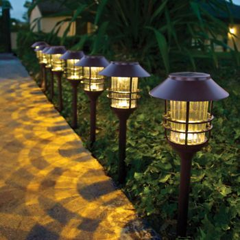 Hgtv Home 23 3 H Die Cast Stainless Steel Solar Pathway Light Set 8 Pack Solar Lights Garden Best Solar Path Lights Solar Path Lights