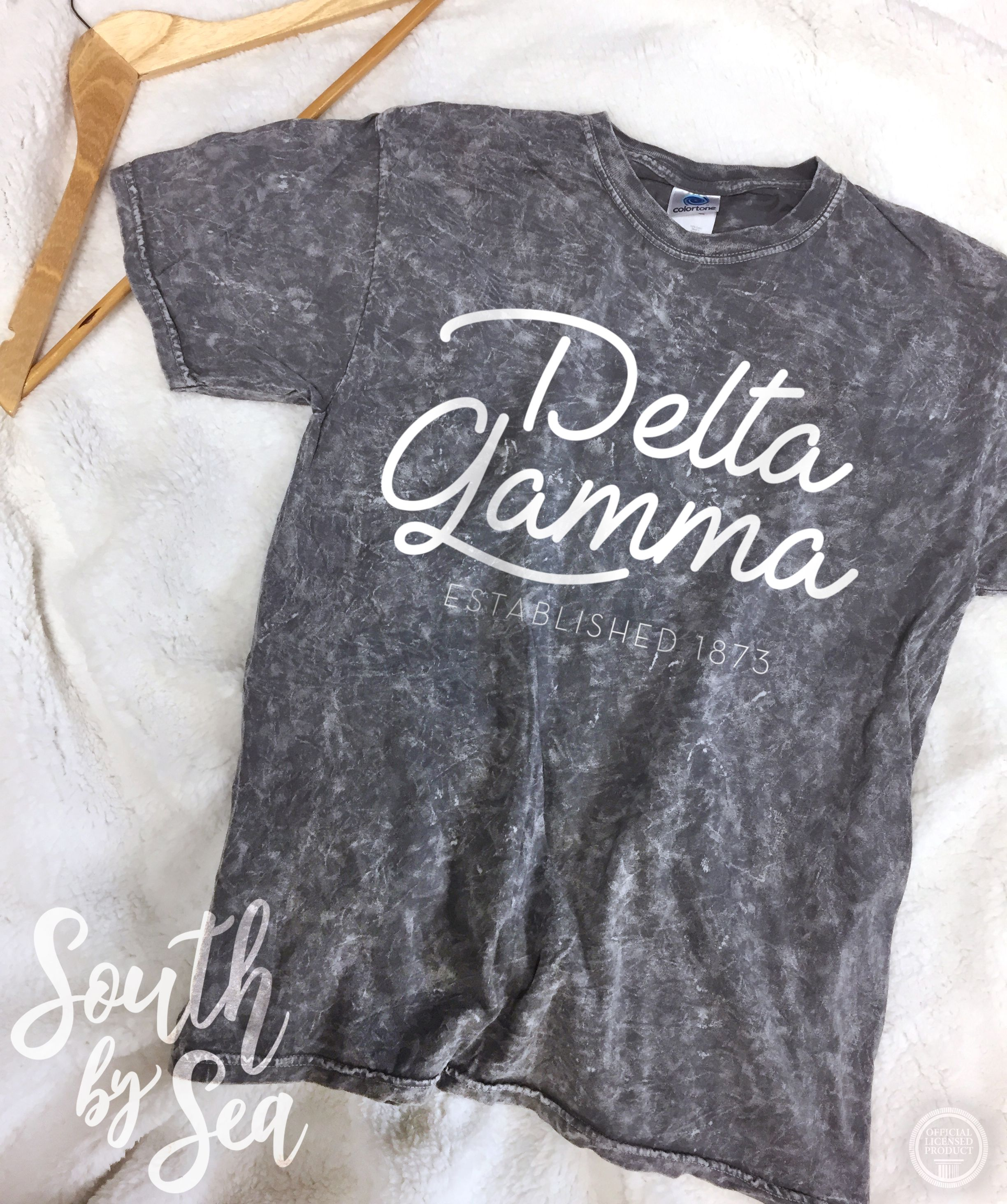 6f60c056 Delta Gamma | DG | Acid Mineral Wash Gray Shirt | South by Sea | Greek