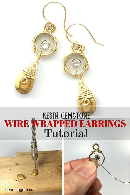 Resin Gemstone Wire Wrapped Earrings Tutorial ~ The Beading Gem\'s ...