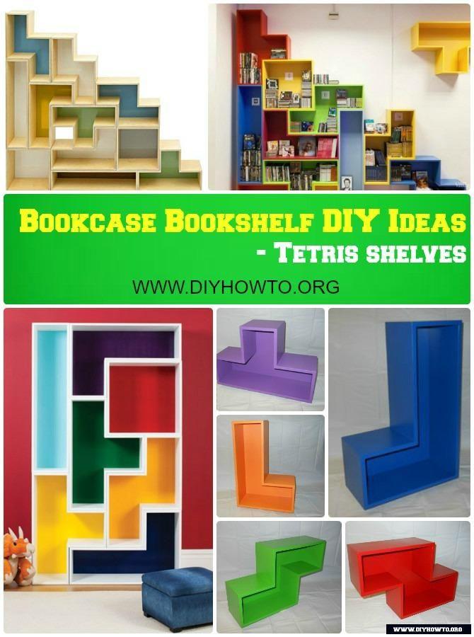 DIY Tetris Shelf Bookcase Instruction Free Plan Furniture